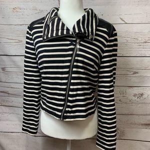Allen B Striped Full Zipper Leather Sweater Jacket